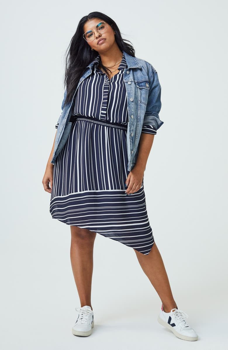 VINCE CAMUTO Plain View Stripe Long Sleeve Asymmetrical Dress, Main, color, 001