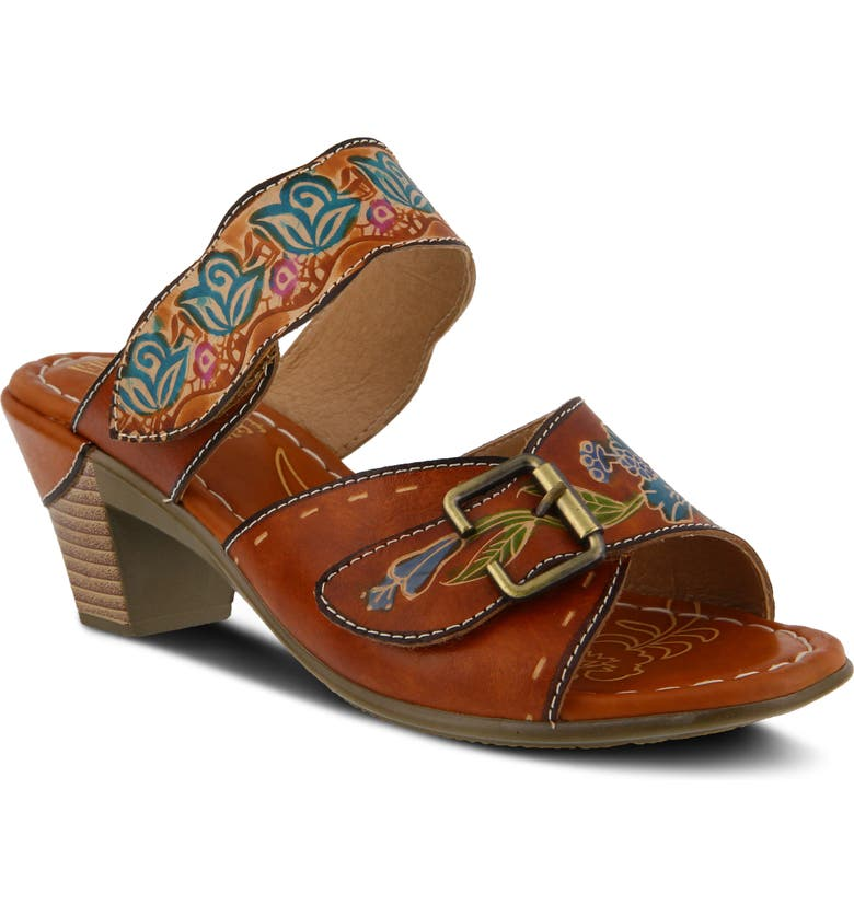 L'ARTISTE Ozuna Slide Sandal, Main, color, CAMEL LEATHER