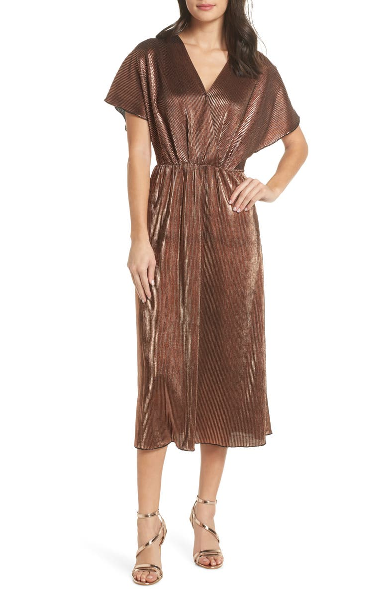 CHARLES HENRY Crossover Midi Dress, Main, color, 220