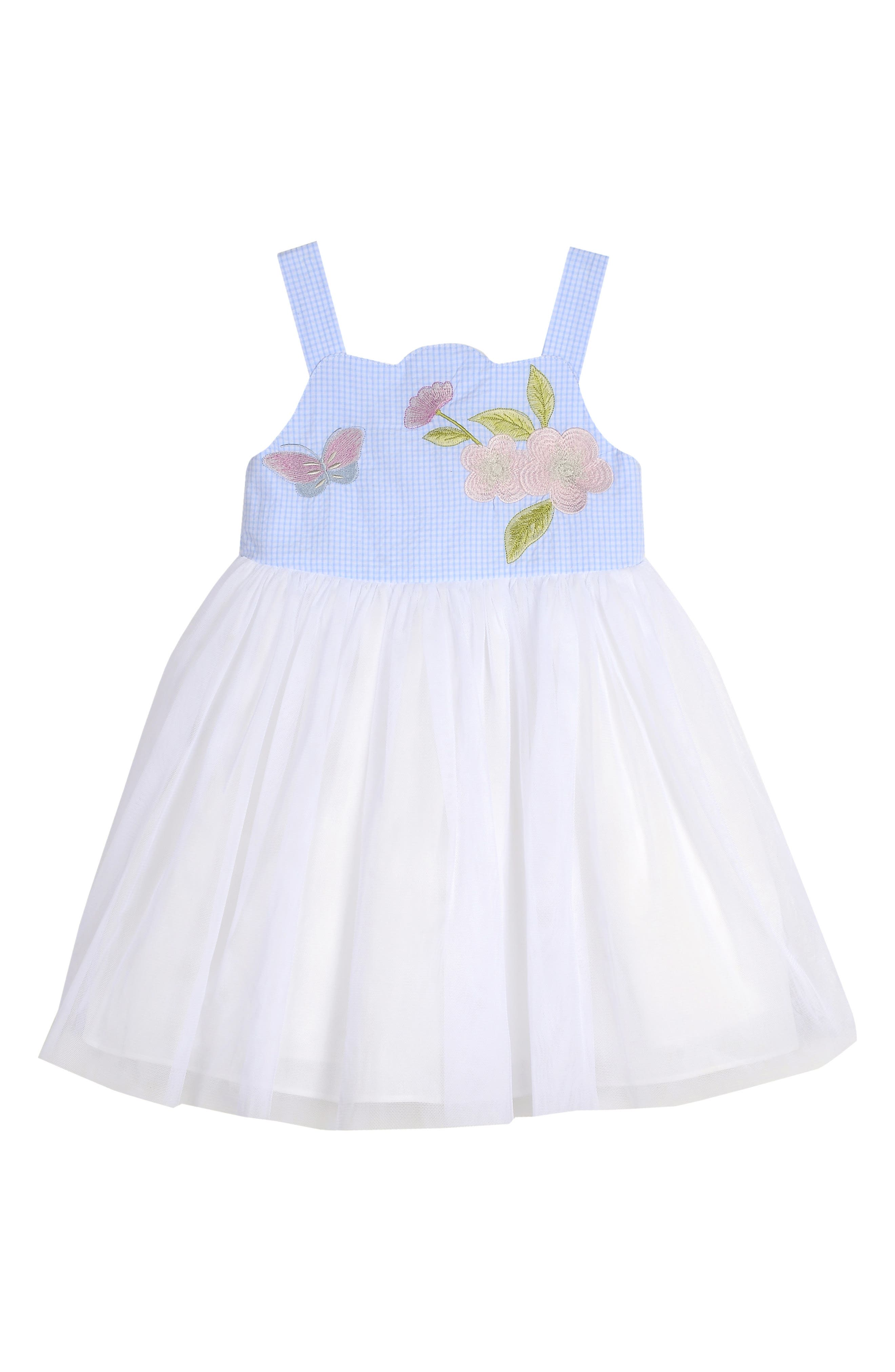 ,                             Embroidered Gingham & Tulle Dress,                             Main thumbnail 1, color,                             BLUE/ WHITE