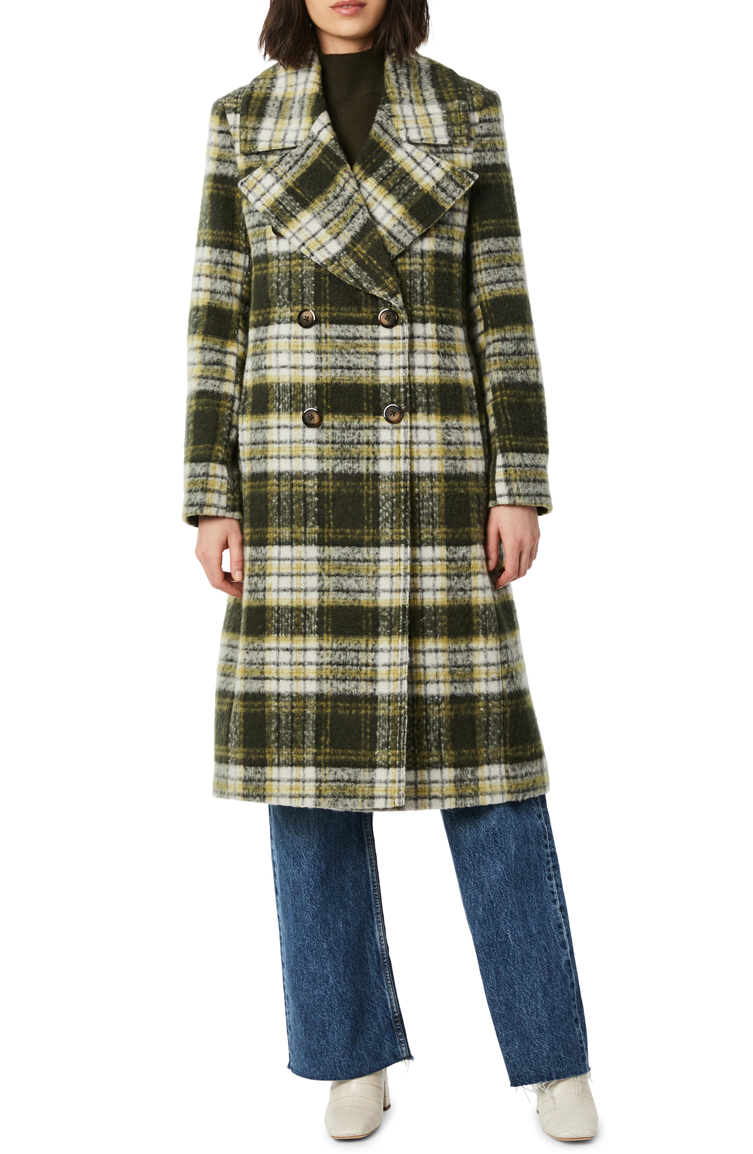 70s Jackets, Furs, Vests, Ponchos Womens Bernardo Plaid Double Breasted Wool Blend Coat Size Small - Green $250.00 AT vintagedancer.com