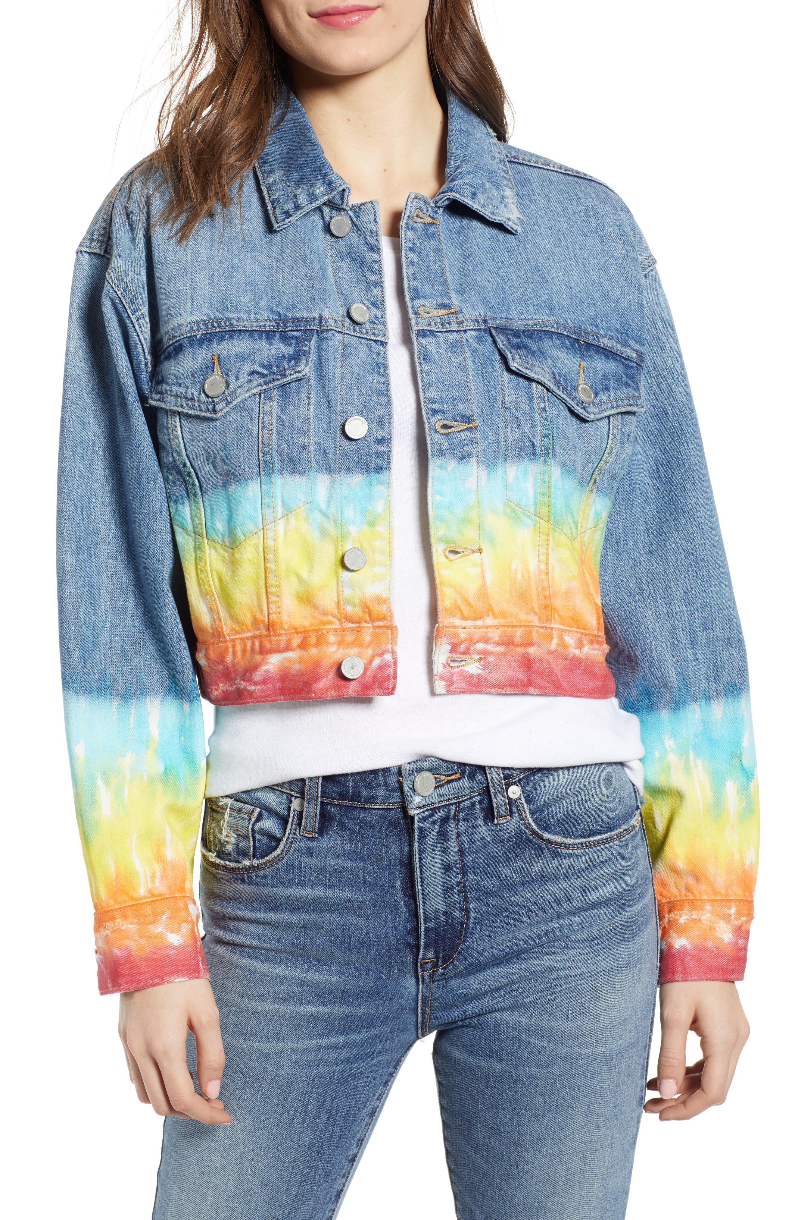 ,                             Tie Dye Hem Crop Denim Jacket,                             Main thumbnail 1, color,                             BLOW THE BAG