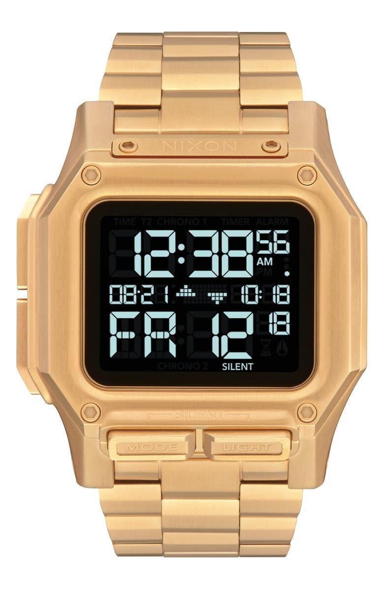 NIXON Regulus Digital Bracelet Watch, 46mm, Main, color, GOLD/ BLACK/ GOLD