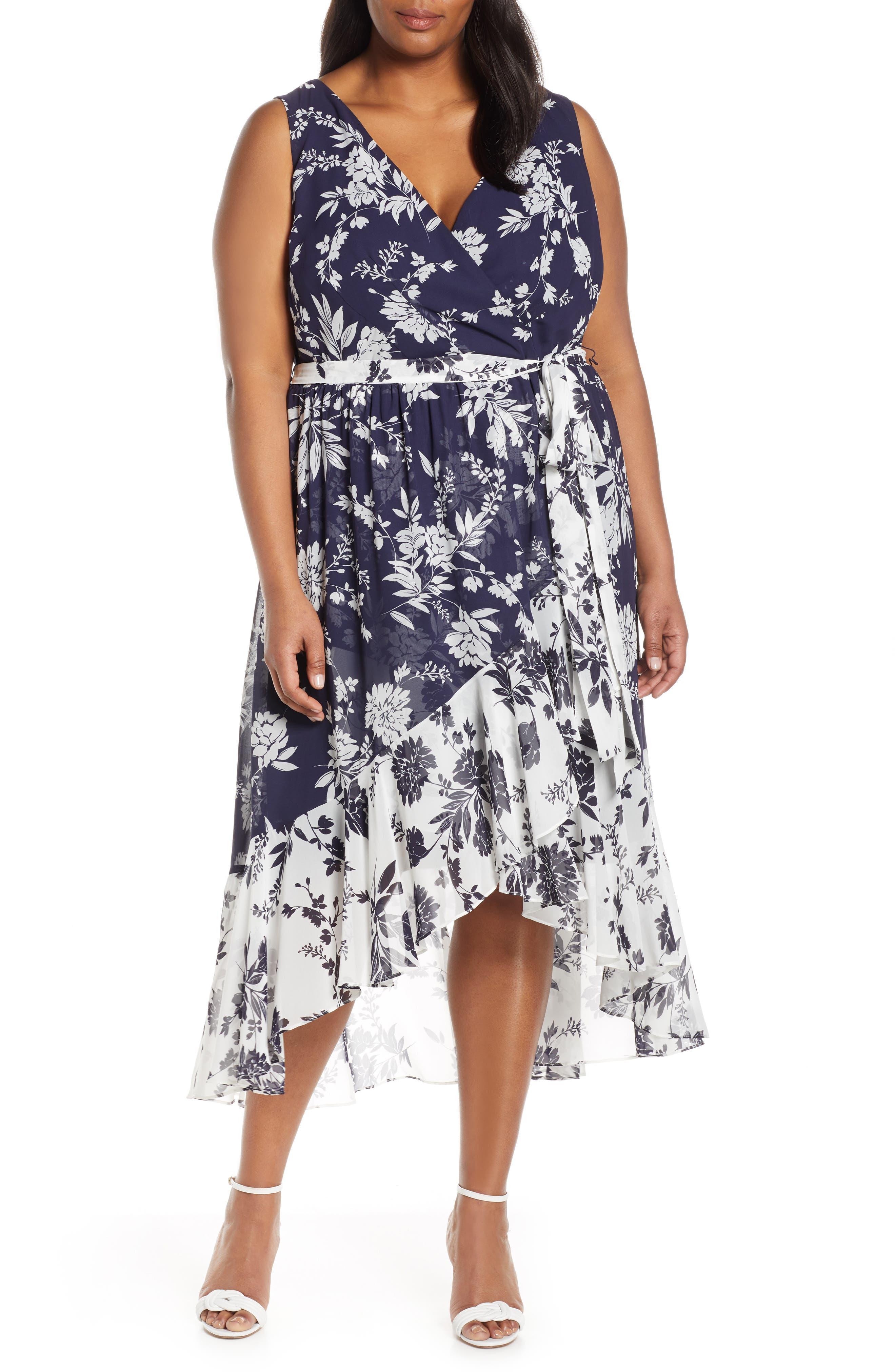 Plus Size Eliza J Chiffon High/low Wrap Midi Dress, Blue