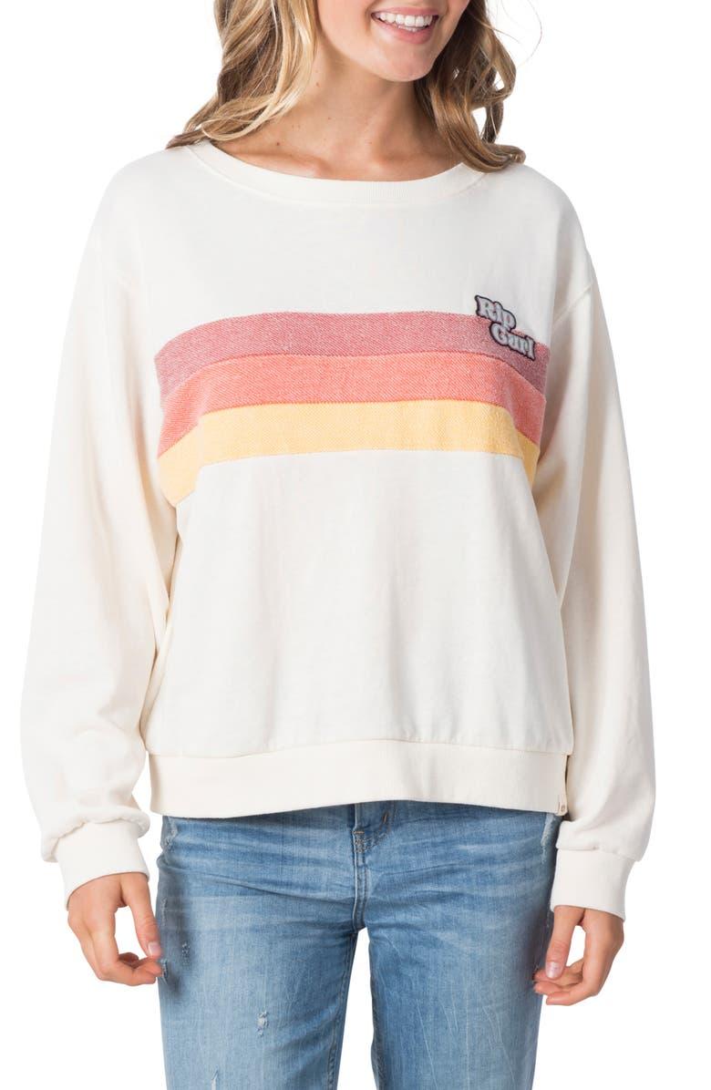 RIP CURL Revival Stripe Sweatshirt, Main, color, 100