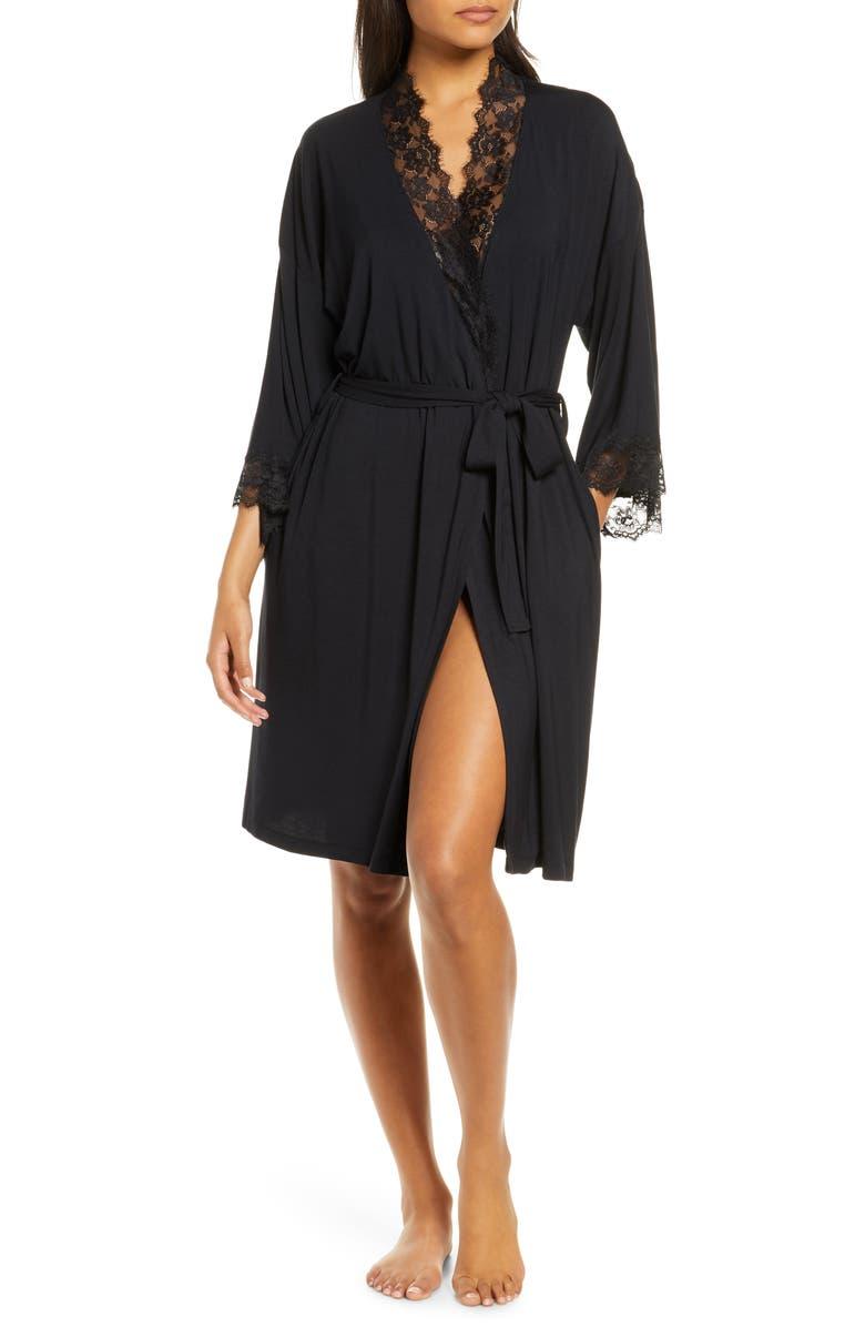 NORDSTROM Lace Trim Short Robe, Main, color, 001