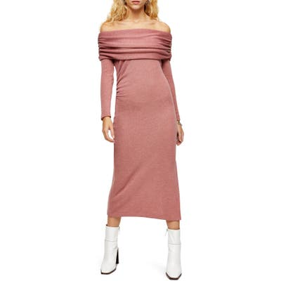 Topshop Off The Shoulder Midi Sweater Dress, US (fits like 10-12) - Pink