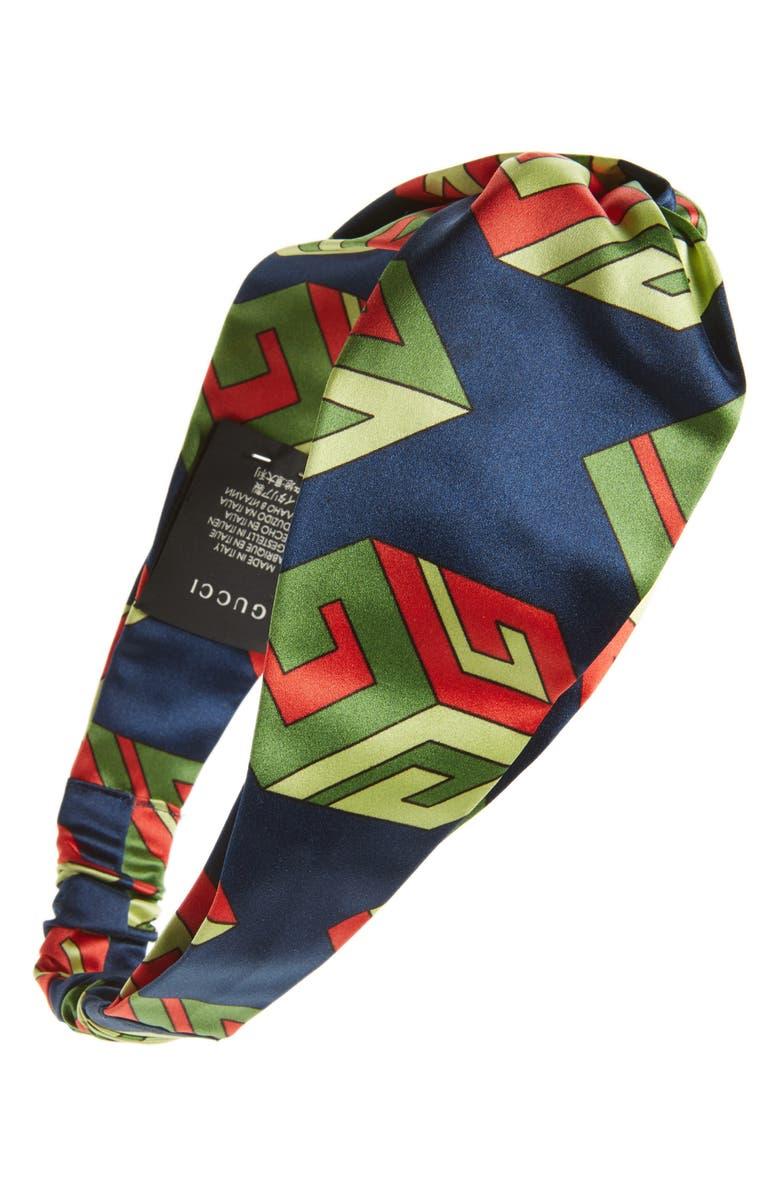 GUCCI Logo Print Silk Head Wrap, Main, color, 400