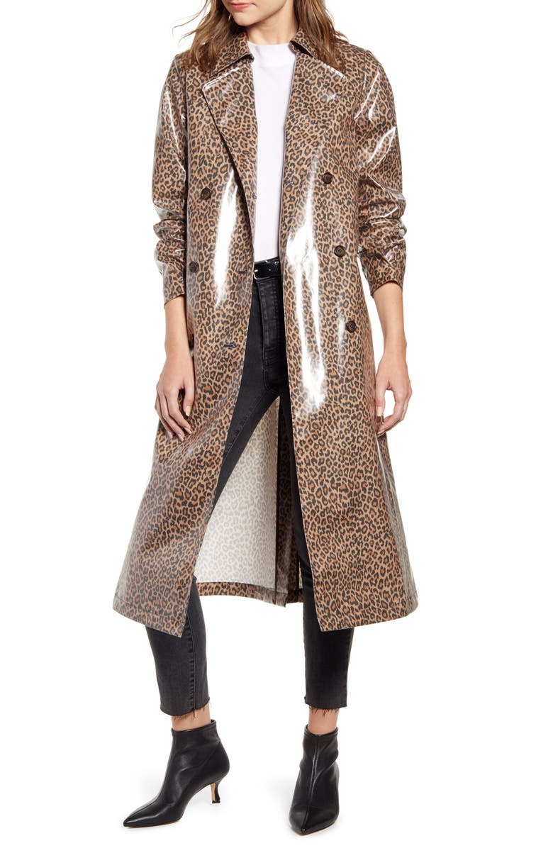 SOMETHING NAVY Leopard Print Water Resistant Coated Trench Coat, Main, color, TAN MACAROON LEOPARD