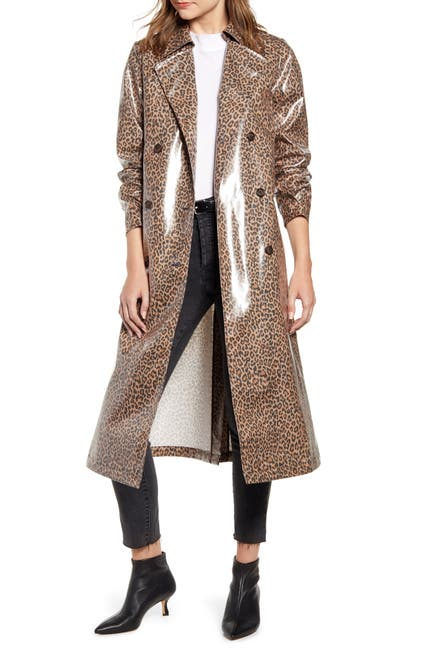 Image of Something Navy Leopard Print Water Resistant Coated Trench Coat