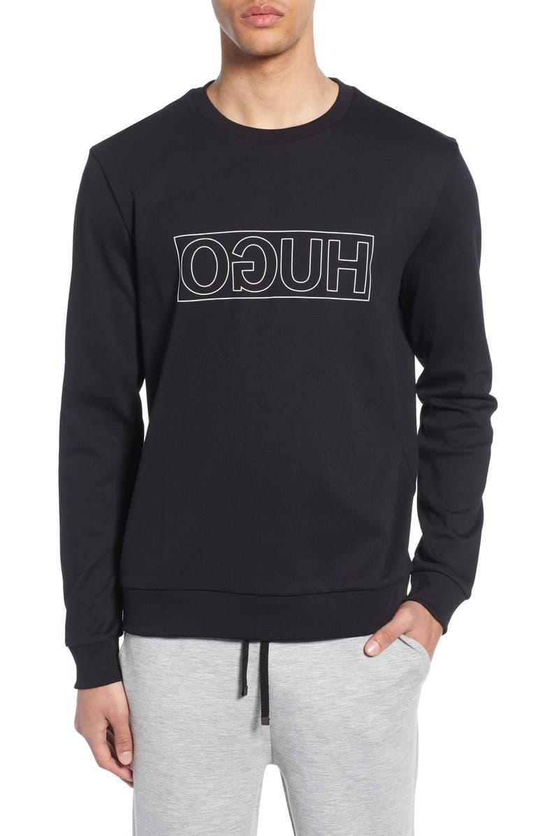 HUGO Dicago Logo Sweatshirt, Main, color, BLACK