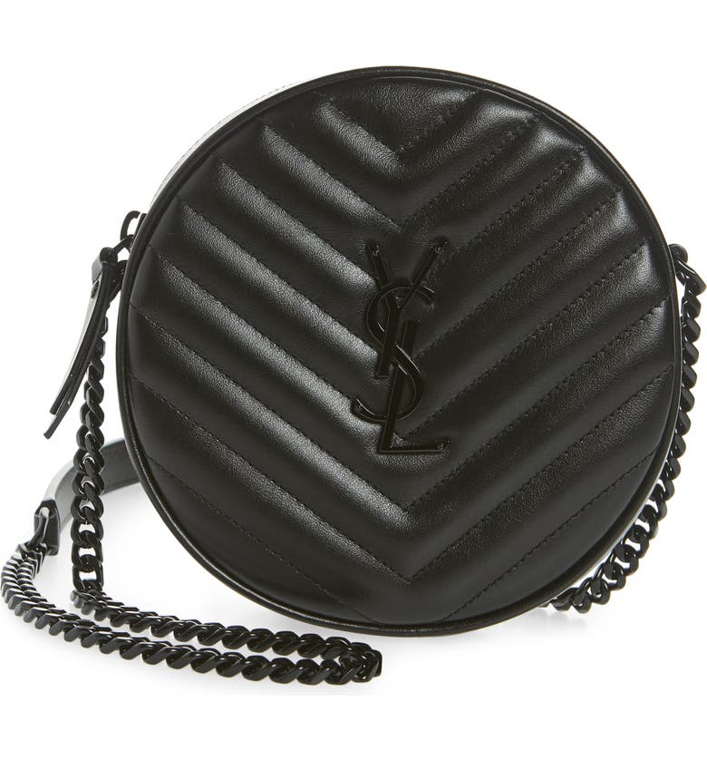 SAINT LAURENT Jade Matelassé Leather Crossbody Bag, Main, color, NOIR