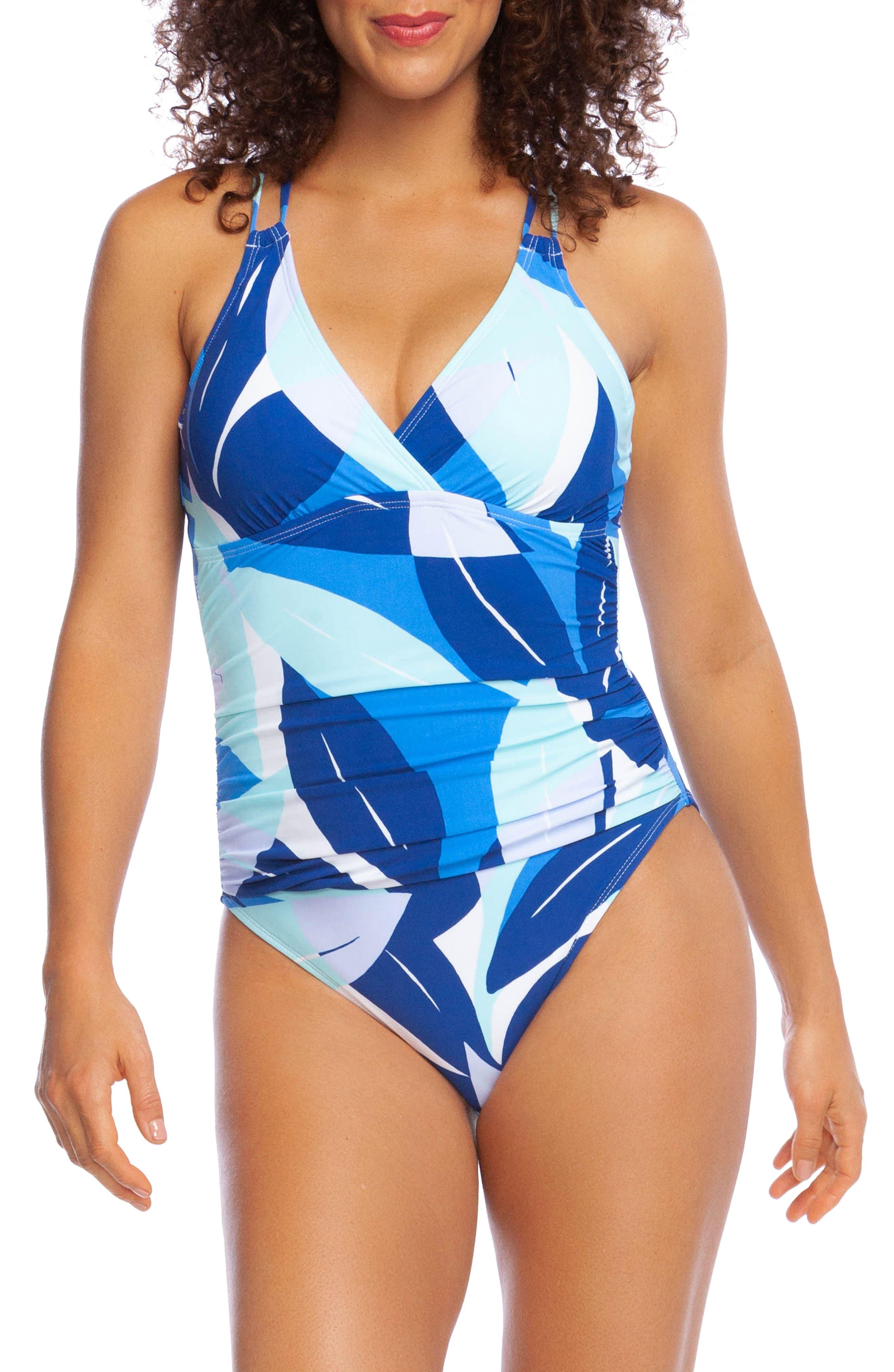 La Blanca Palm Reader Mio Surplice One-Piece Swimsuit, Blue