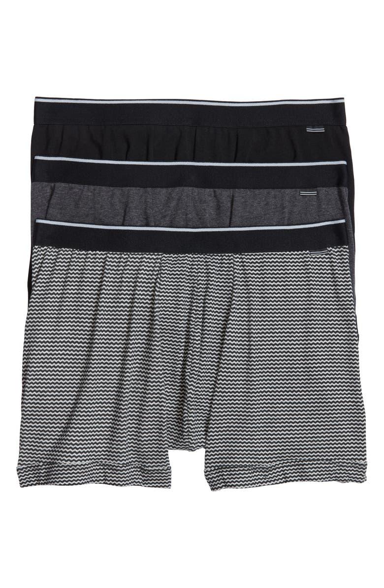 NORDSTROM MEN'S SHOP 3-Pack Boxer Briefs, Main, color, GREY/ BLACK ZIG ZAG