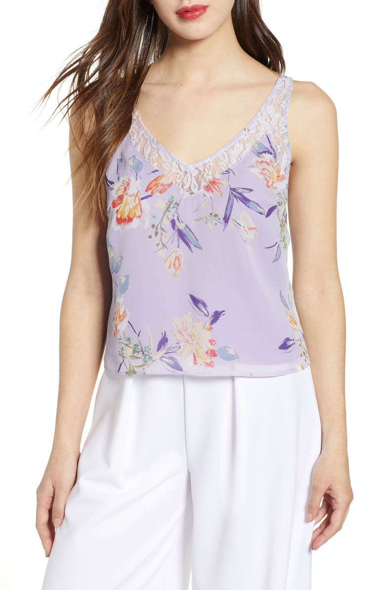 LEITH Lace Trim Floral Tank, Main, color, PURPLE BONNET BOUQT FLORAL