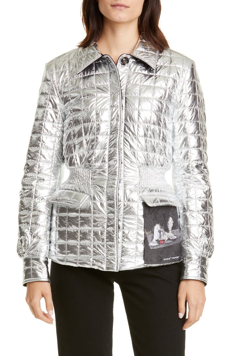 OFF-WHITE Painting Gathered Waist Metallic Quilted Jacket, Main, color, 001