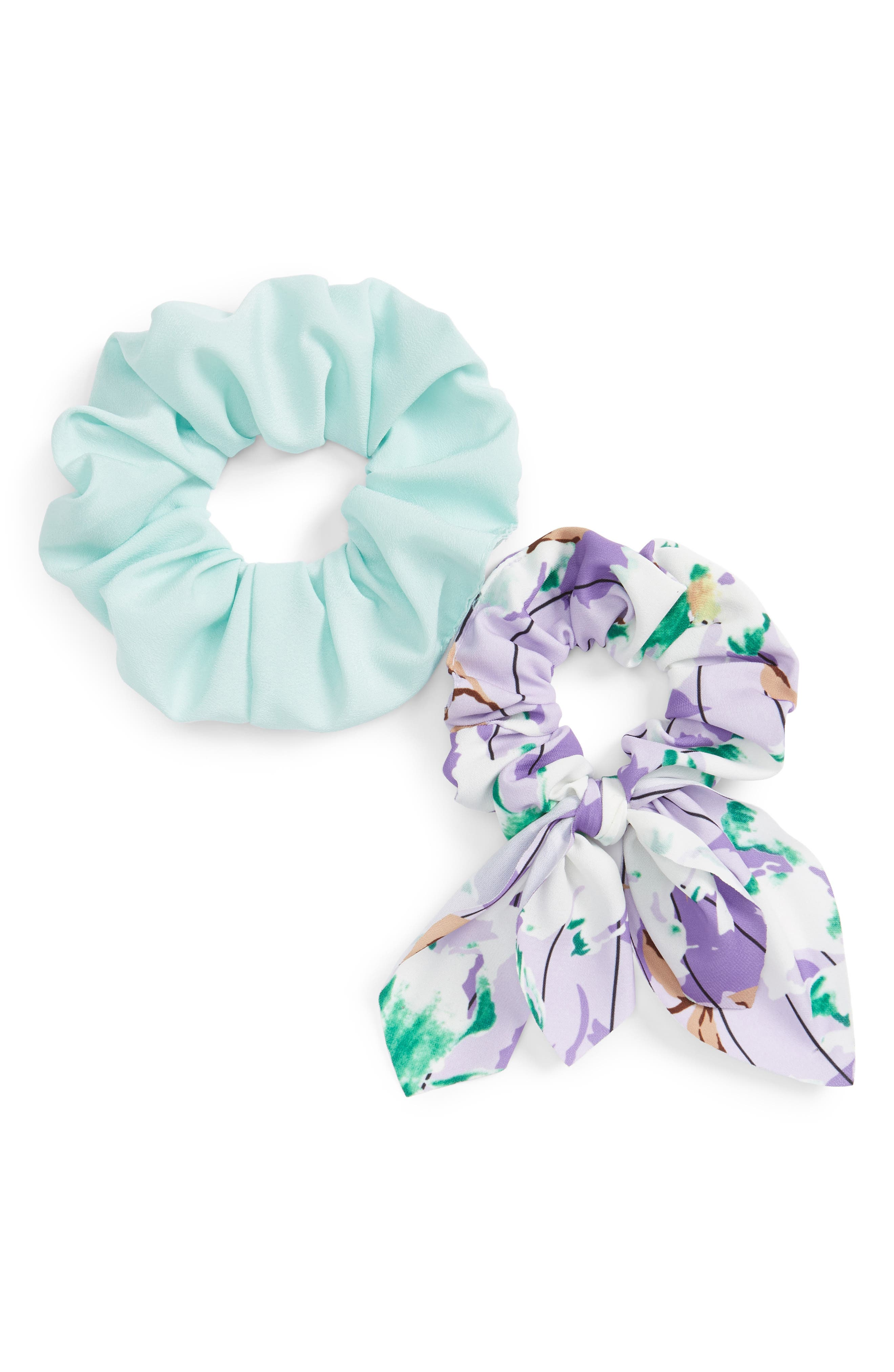 2-Pack Crepe Scrunchies, Main, color, PURPLE MULTI