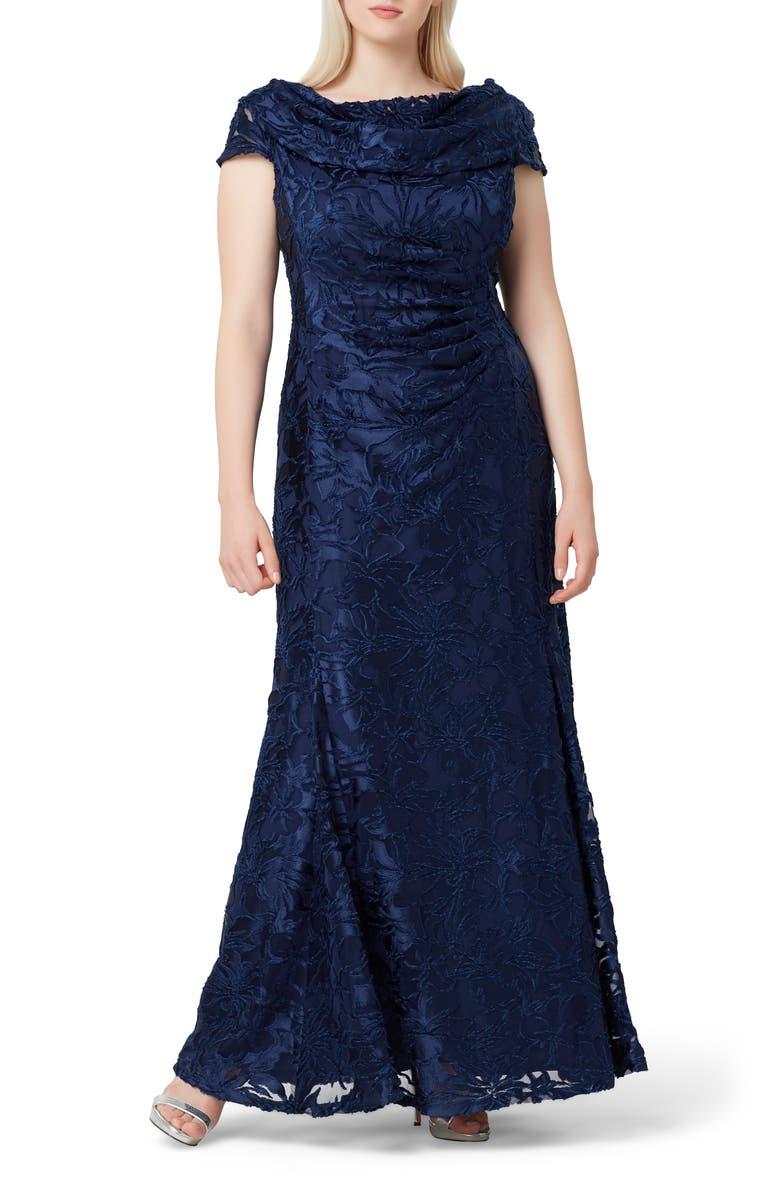 TAHARI Floral Burnout Evening Gown, Main, color, NAVY BURNOUT FLORAL