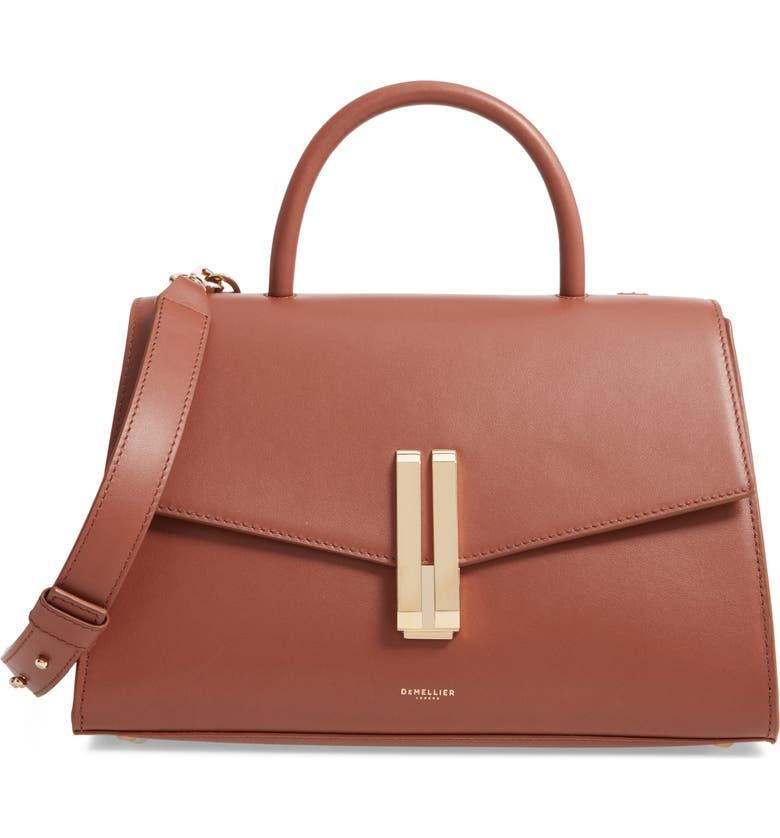 DEMELLIER Montreal Leather Top Handle Bag, Main, color, COGNAC SMOOTH