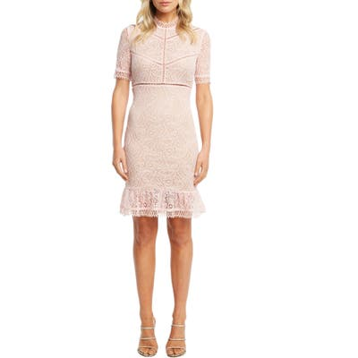 Bardot Theodora Lace Sheath Minidress, Pink