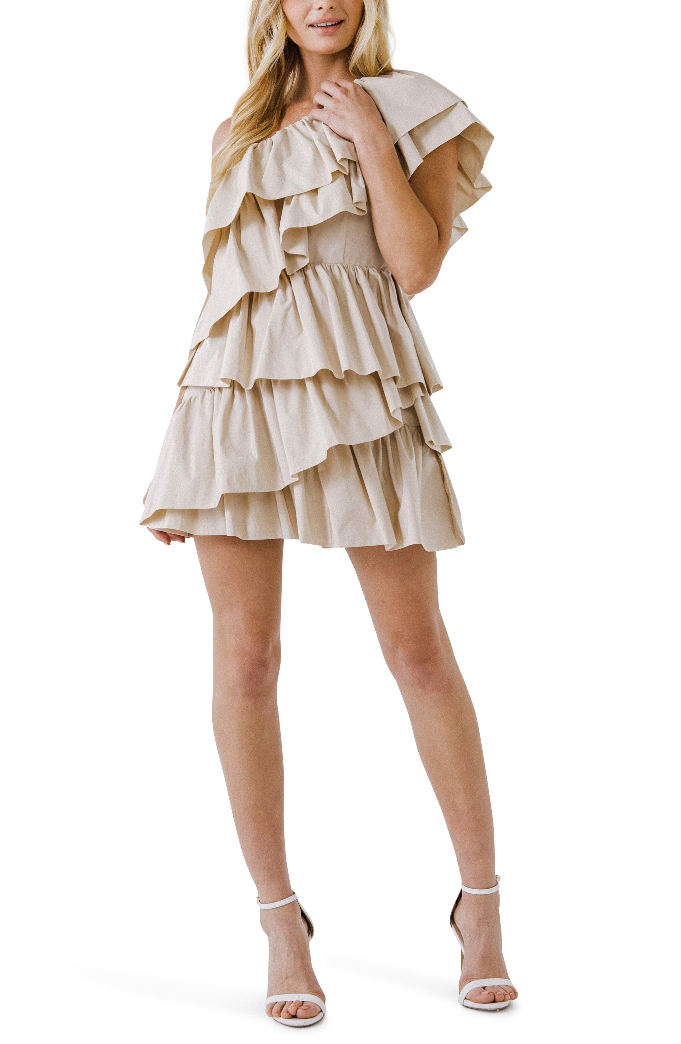 One-Shoulder Ruffle Minidress