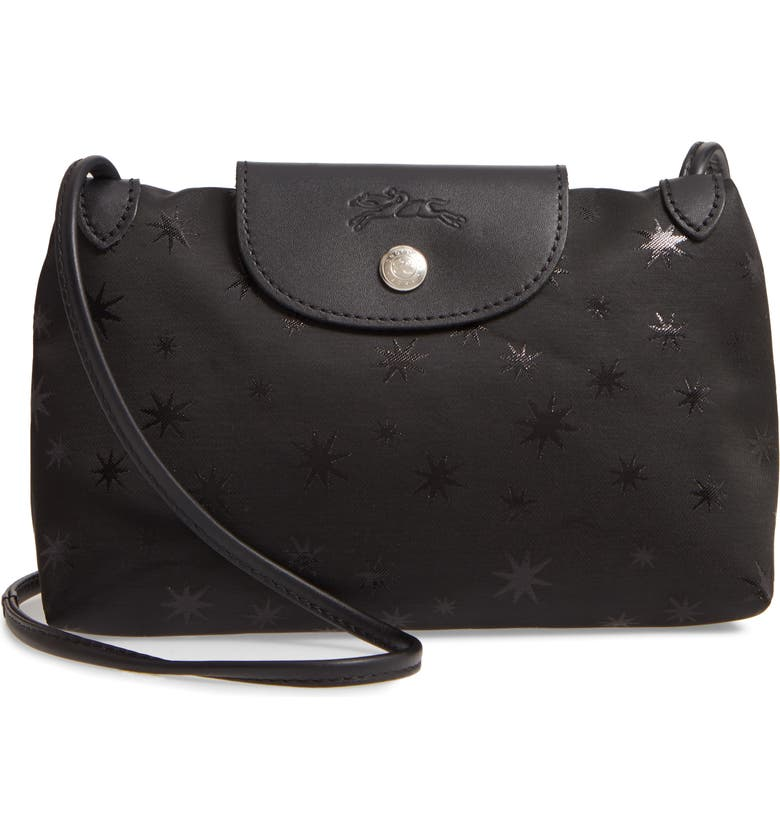LONGCHAMP Mini Le Pliage Étoiles Jacquard Canvas Crossbody Bag, Main, color, BLACK
