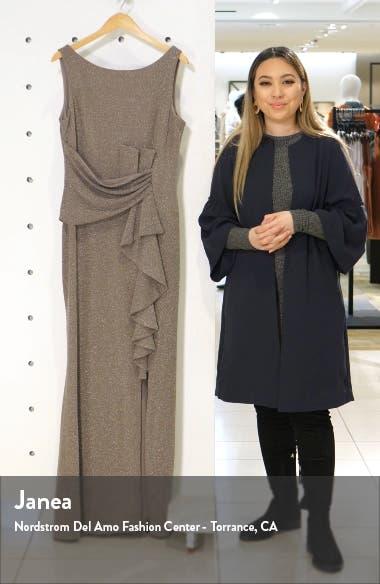 Ruffle Front Metallic Knit Gown, sales video thumbnail