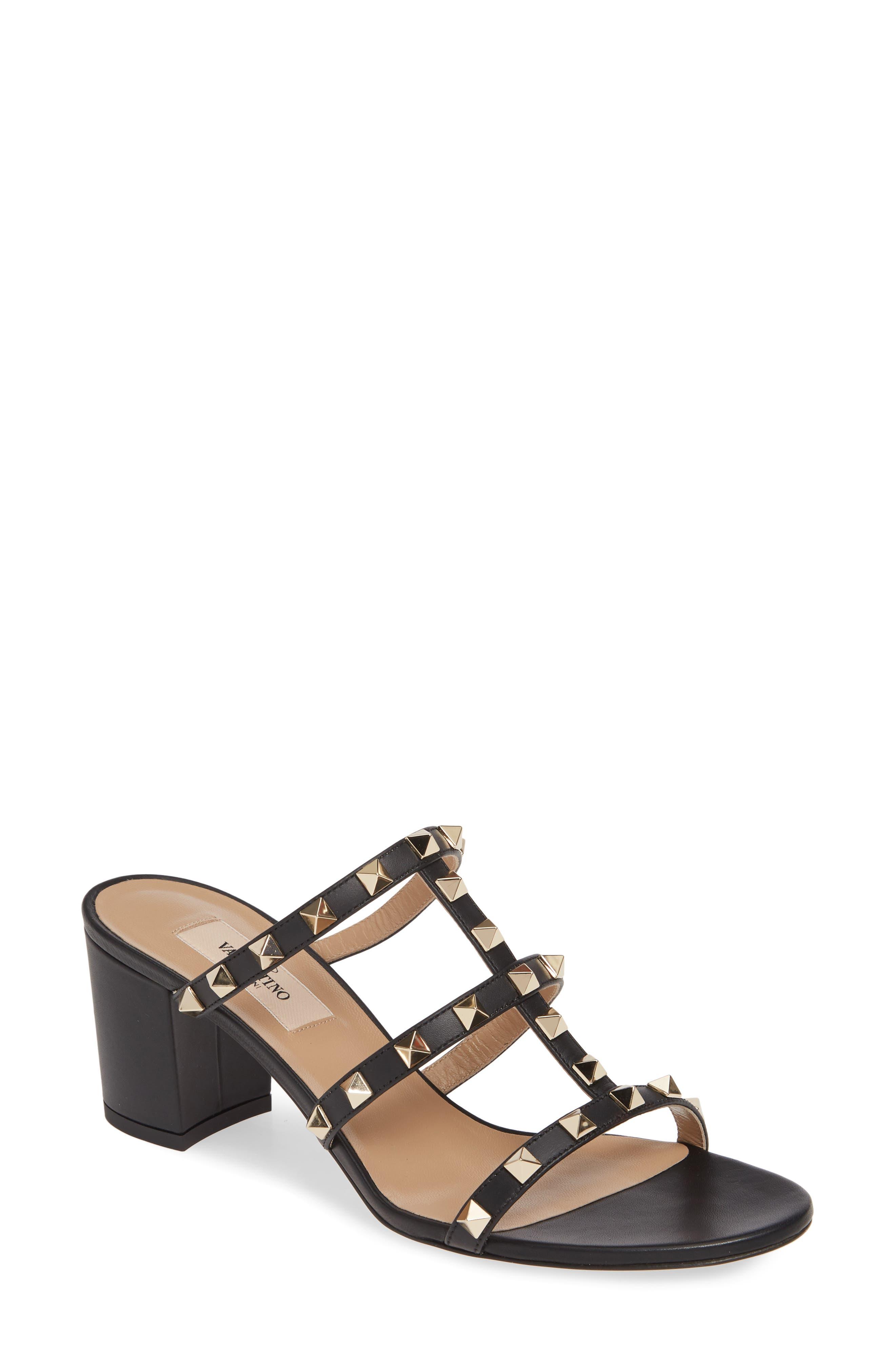 Rockstud Slide Sandal, Main, color, BLACK