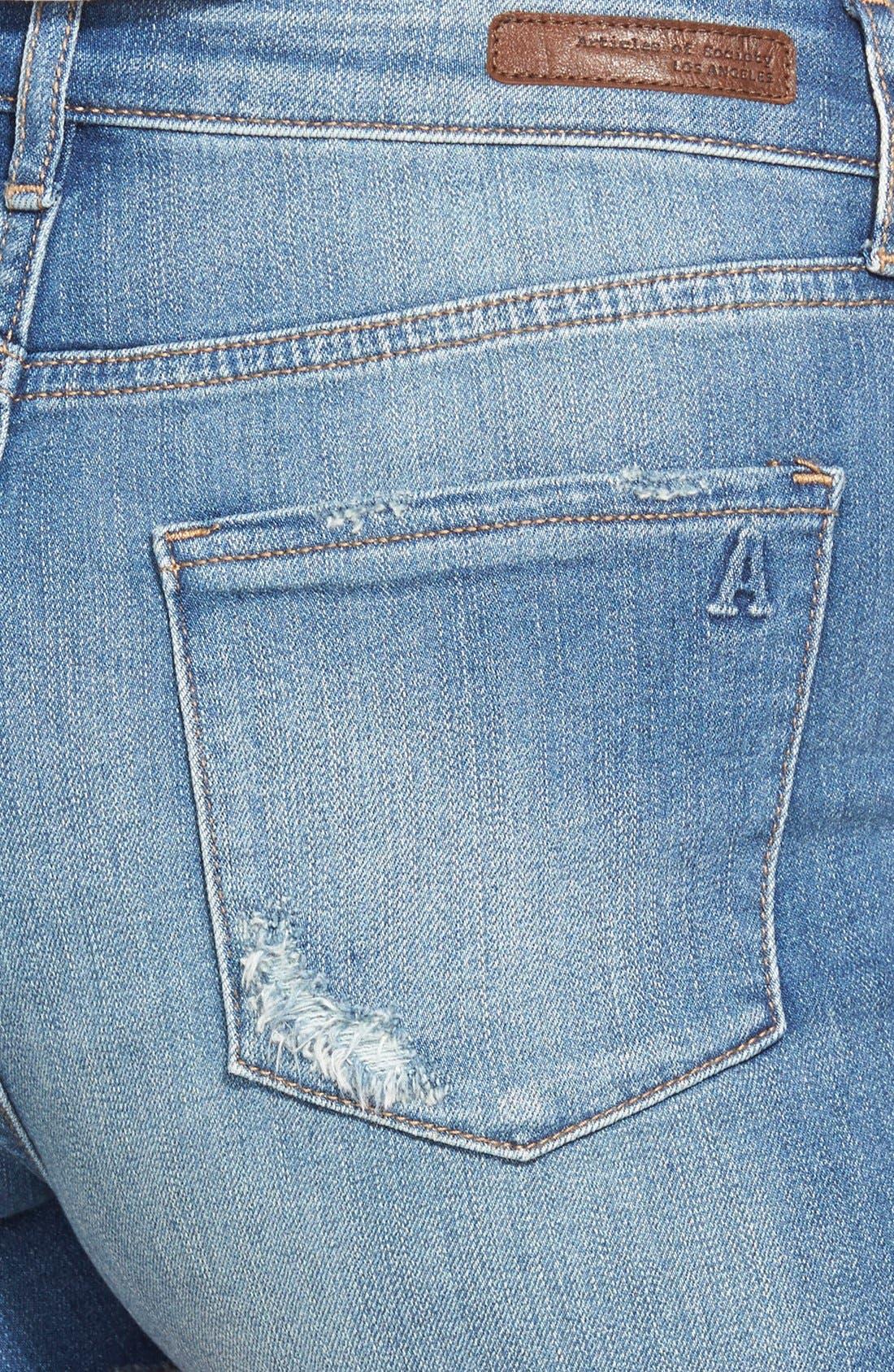,                             Distressed High Waist Denim Shorts,                             Alternate thumbnail 4, color,                             400