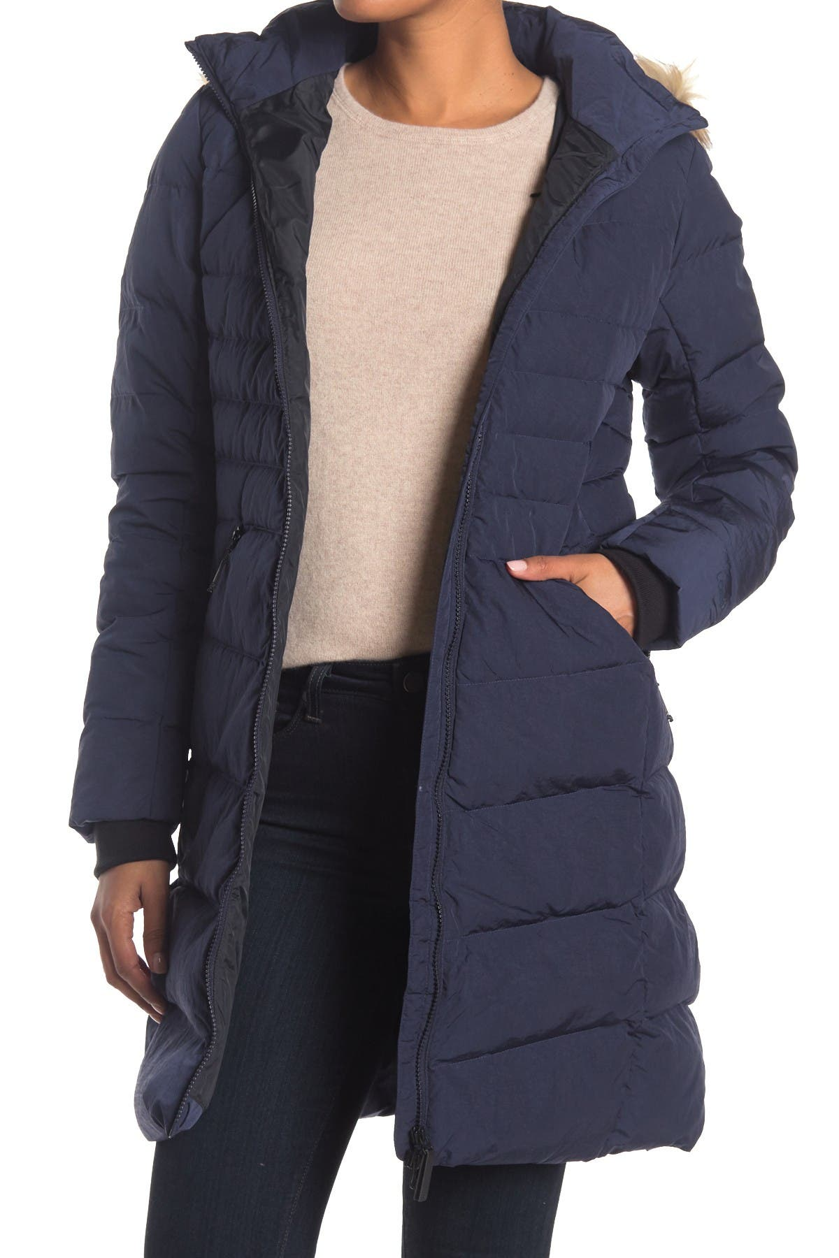 Image of Lole Katie Faux Fur Trim Hooded Down Jacket