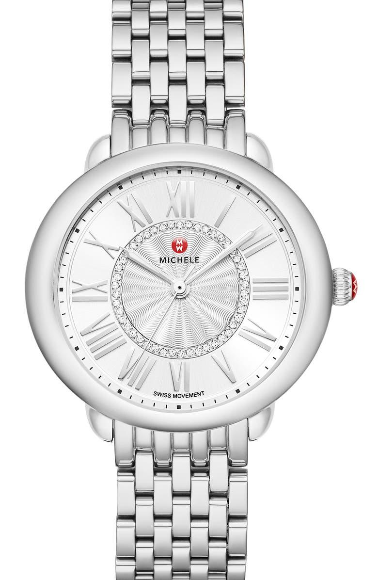 MICHELE Serein Diamond Watch Head & Bracelet, 36mm, Main, color, SILVER/ SILVER WHITE SUNRAY