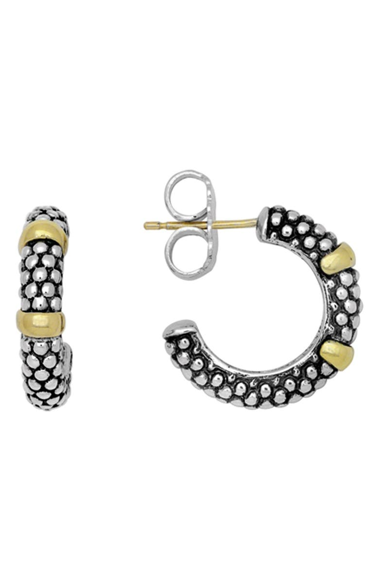 LAGOS Two Tone Caviar Hoop Earrings, Main, color, STERLING SILVER/ GOLD