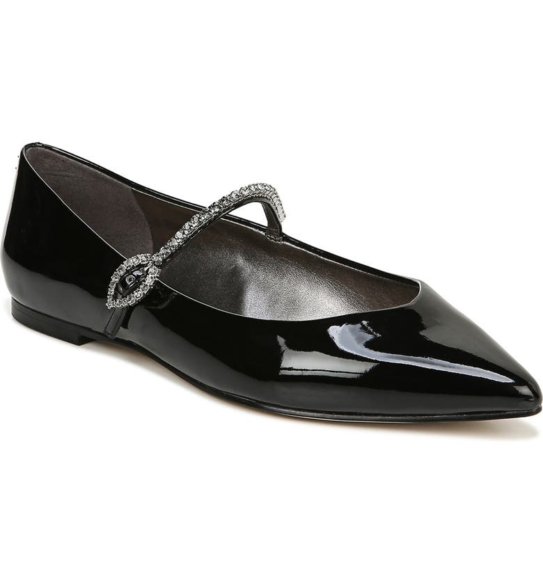 SAM EDELMAN Rally Crystal Mary Jane Pointed Toe Flat, Main, color, BLACK PATENT LEATHER