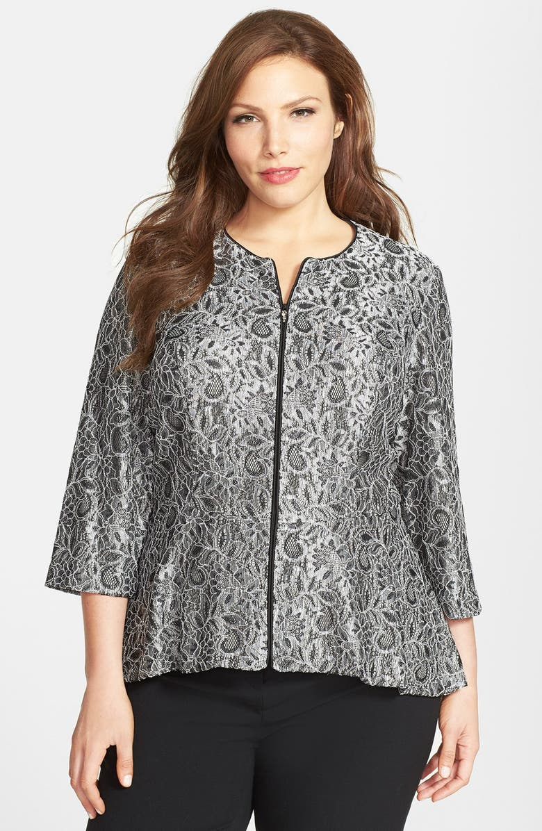 ALEX EVENINGS Collarless Metallic Lace Jacket, Main, color, BLACK/ SILVER