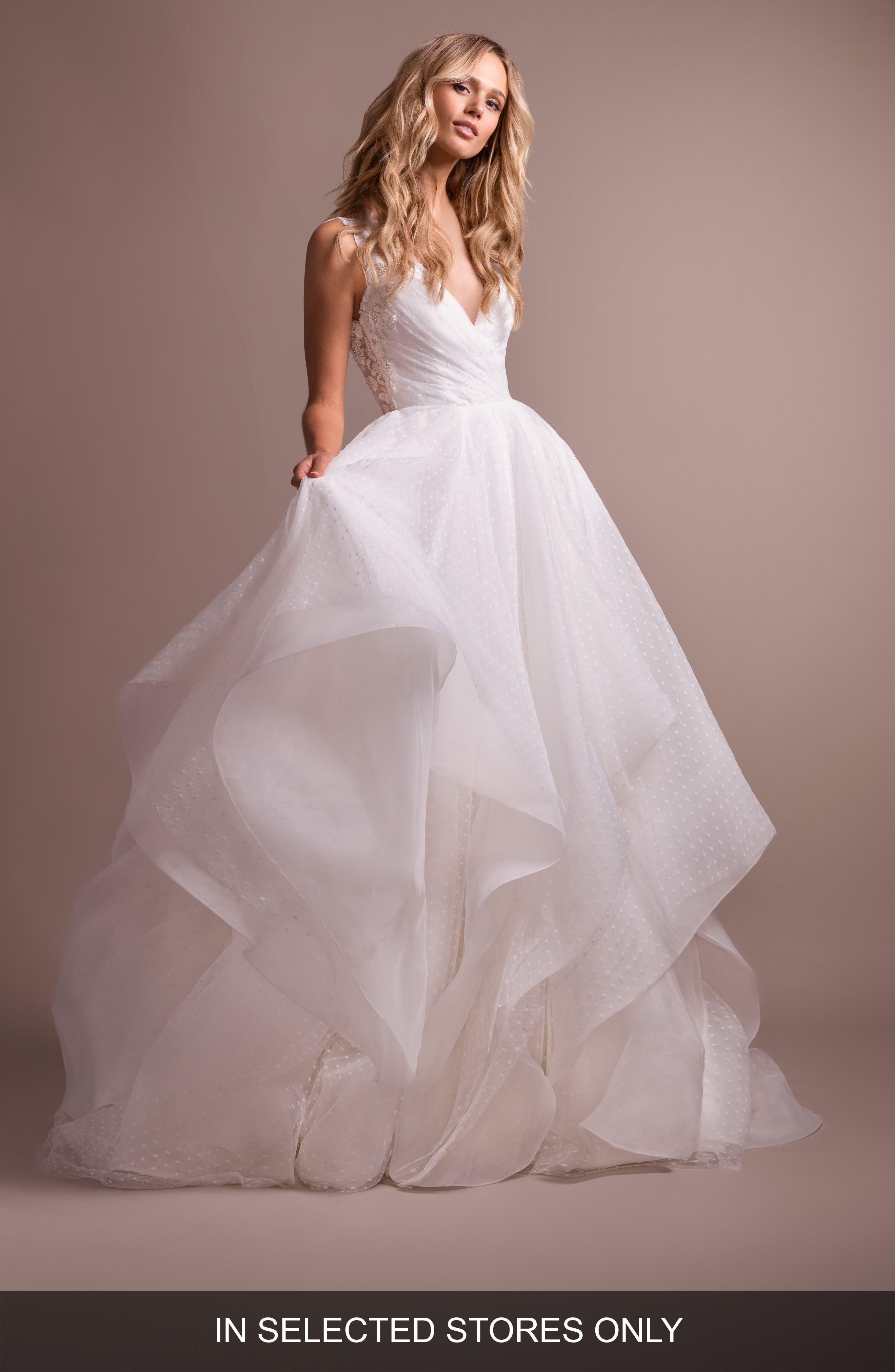Hayley Paige Dylan V-Neck Low Back Wedding Dress, Size - Ivory
