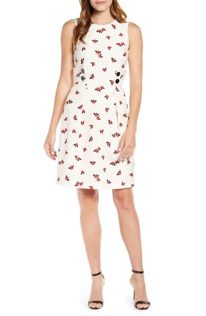 ANNE KLEIN Chatterly Rose Fit & Flare Dress, Main, color, ANNE WHITE/ PINOT COMBO
