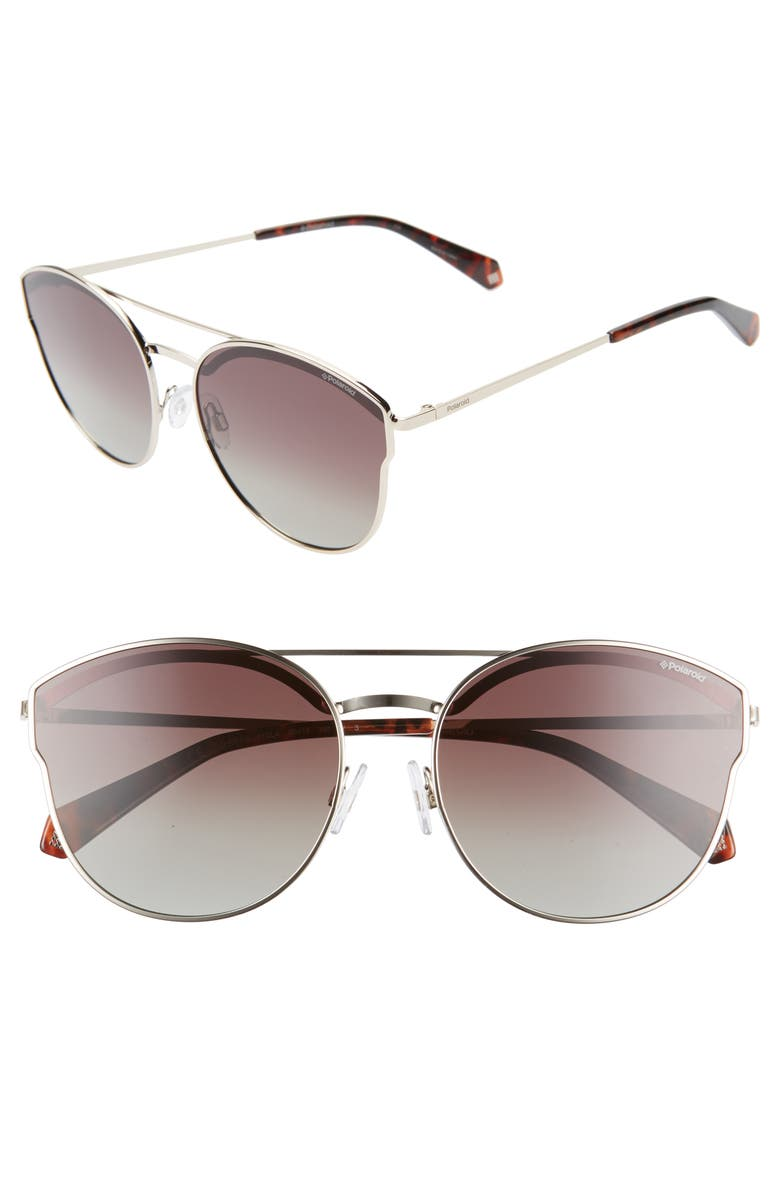 POLAROID 60mm Polarized Round Aviator Sunglasses, Main, color, GOLD/ BROWN