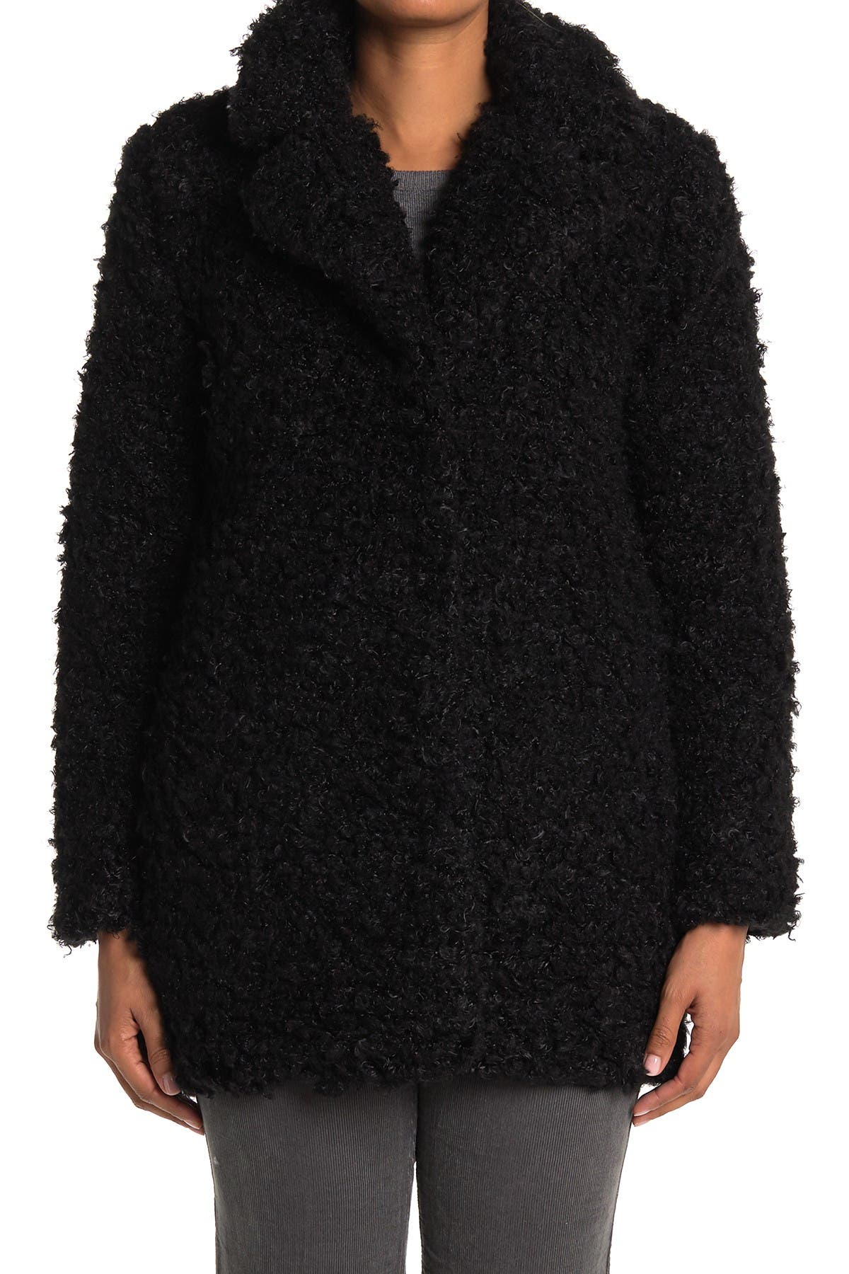 KENDALL AND KYLIE Faux Fur Notch Collar Jacket