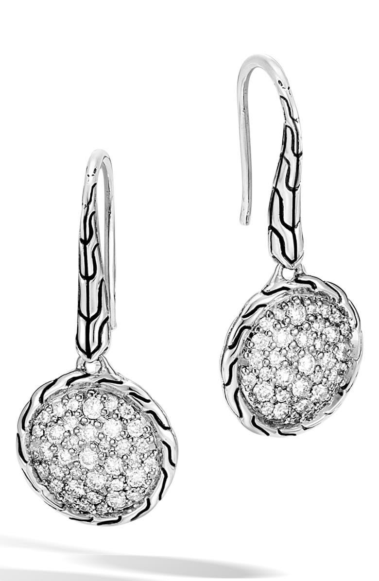 JOHN HARDY Chain Classic Pavé Diamond Drop Earrings, Main, color, 040