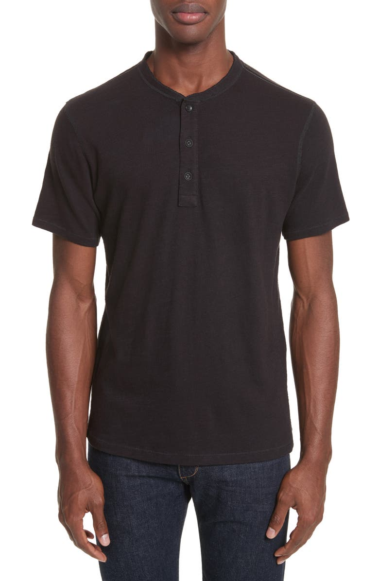 RAG & BONE Slim Fit Henley T-Shirt, Main, color, BLACK