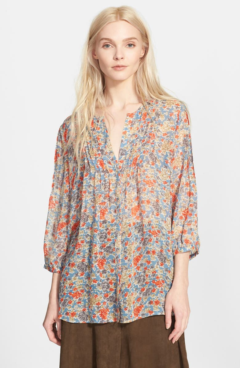 JOIE 'Lacee' Floral Print Silk Top, Main, color, 427