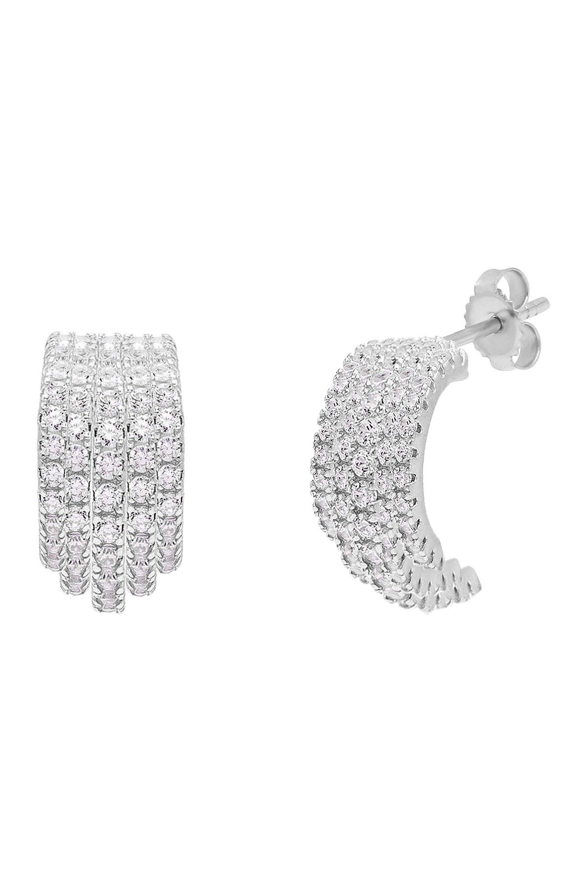 Image of Savvy Cie Sterling Silver Pave Cubic Zirconia Bombay Hoop Earrings