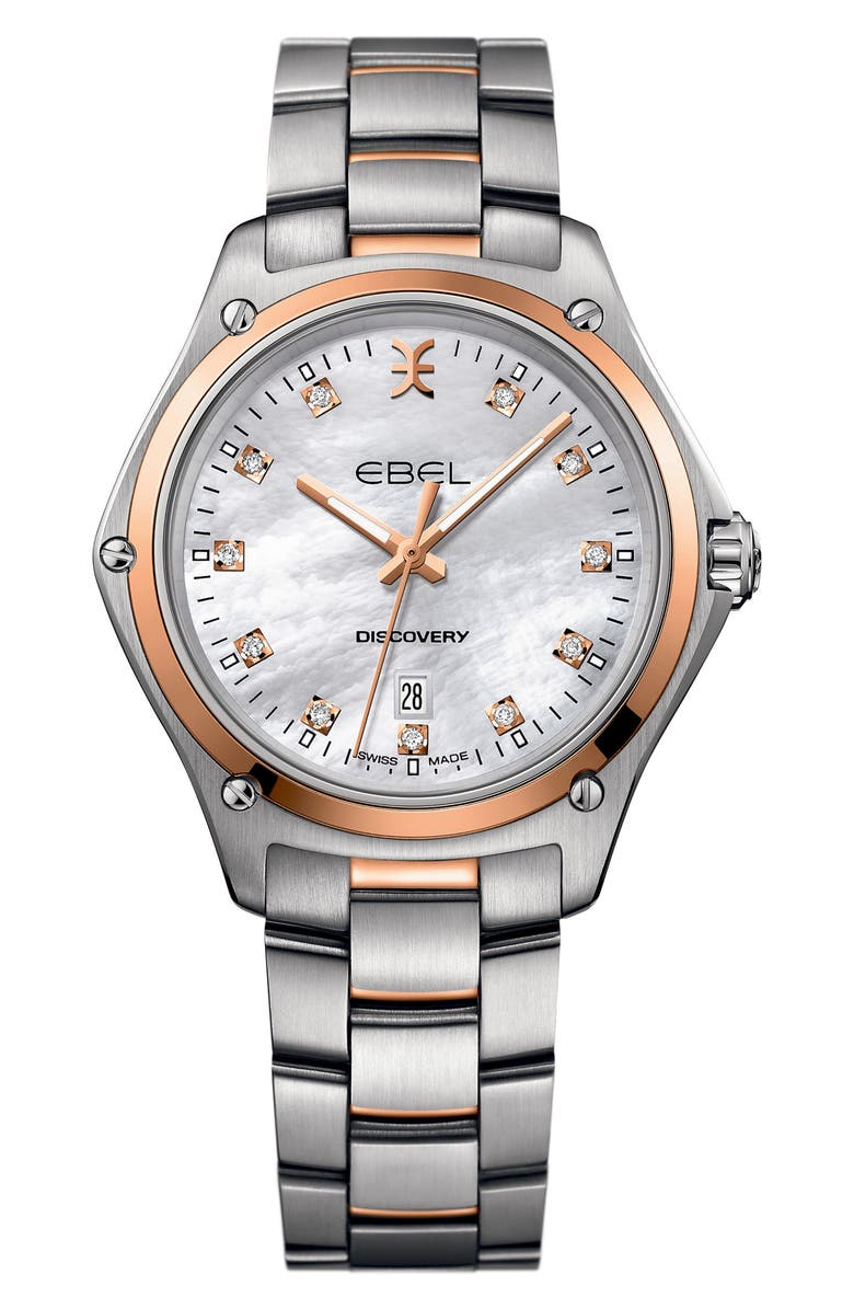 EBEL Discovery Diamond Bracelet Watch, 33mm, Main, color, SILVER/ MOP/ ROSE GOLD