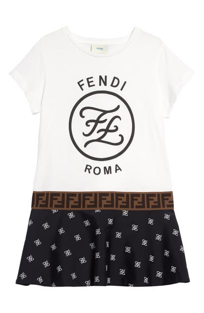 Fendi Kids' Girl's Short-sleeve Mixed Logo Dress In White