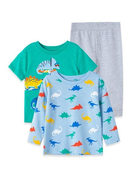 Image of Little Me Dino 3-Piece Shirt & Joggers Set