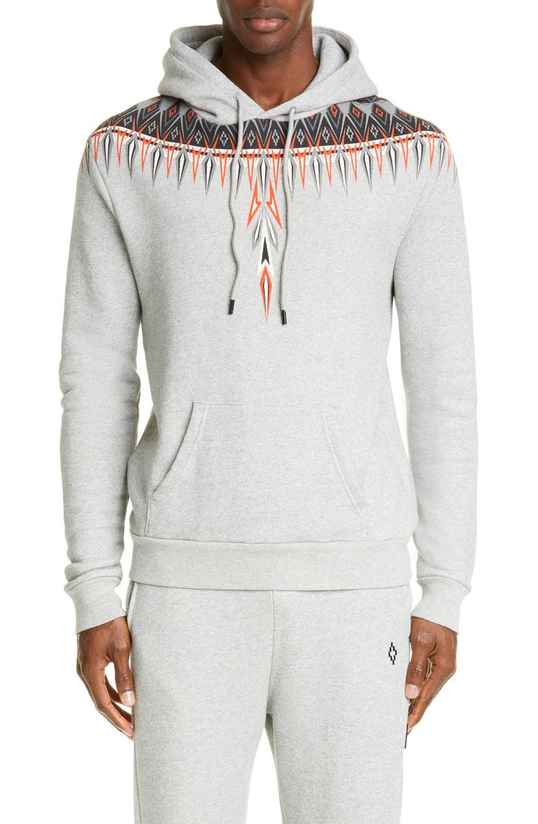 MARCELO BURLON Norwegian Wings Graphic Hoodie, Main, color, GREY MELANGE