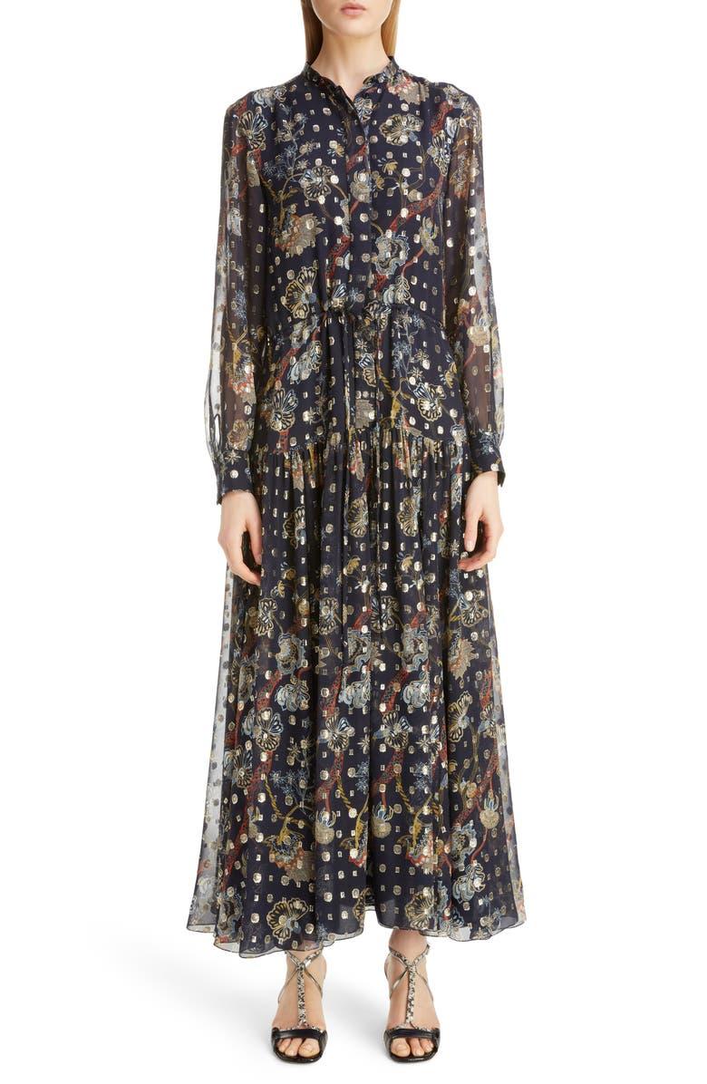 CHLOÉ Print Metallic Long Sleeve Fil Coupé Maxi Shirtdress, Main, color, 400