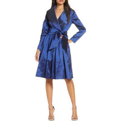 Tahari Long Sleeve Stretch Taffeta Wrap Dress, Blue