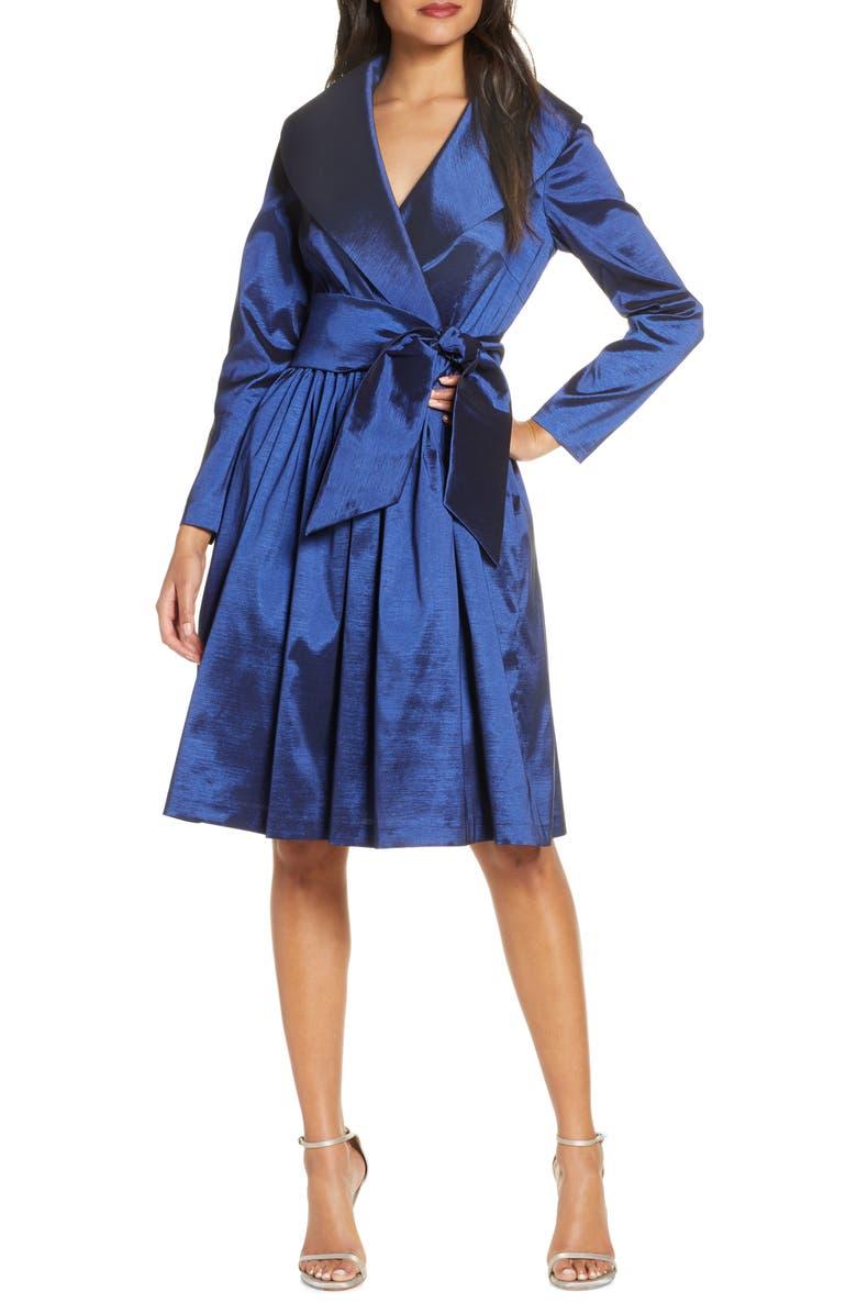 TAHARI Long Sleeve Stretch Taffeta Wrap Dress, Main, color, 412