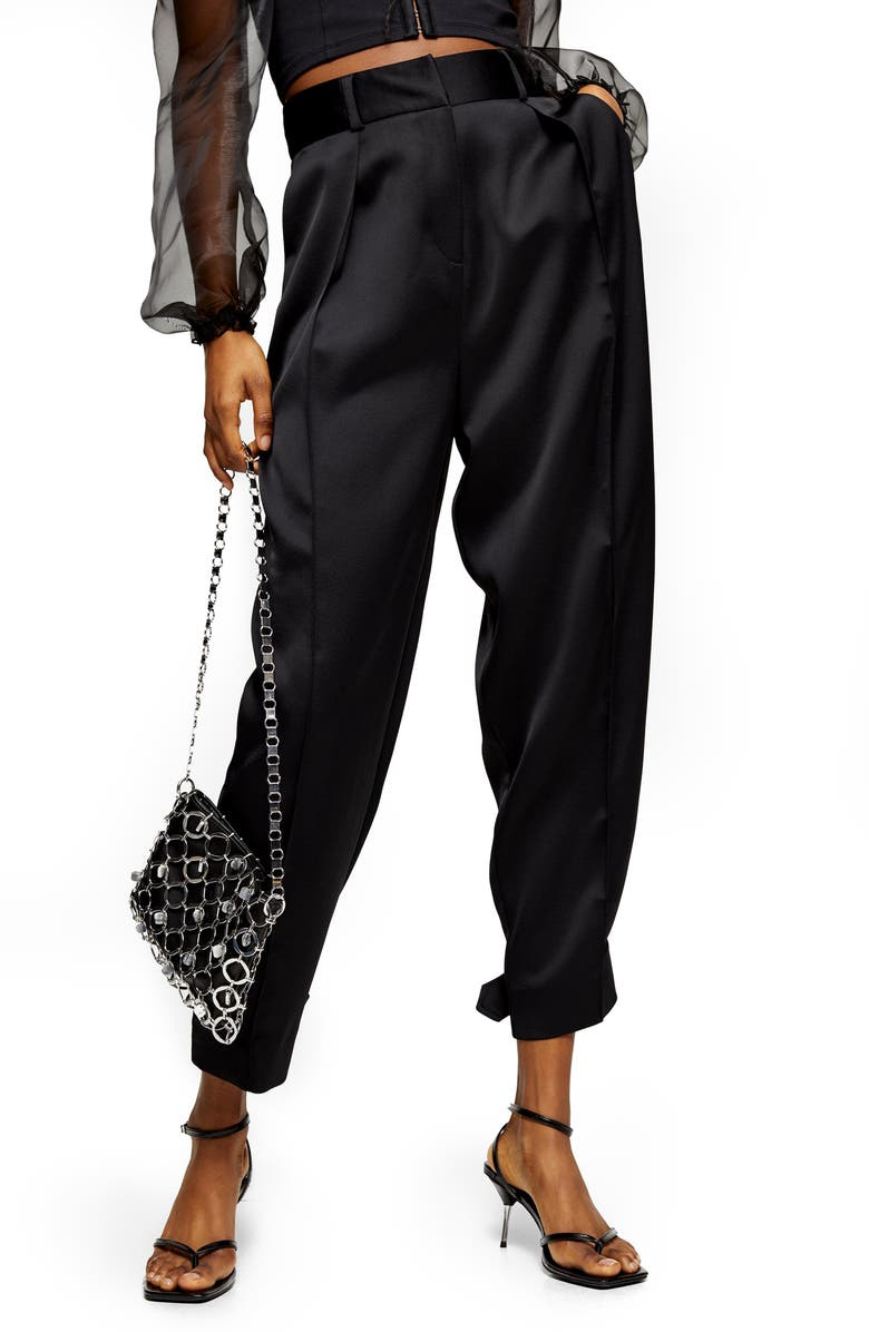 TOPSHOP Satin Button Hem Peg Trousers, Main, color, BLACK